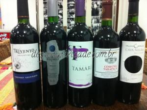 Degustação de vinhos na faixa de R$20
